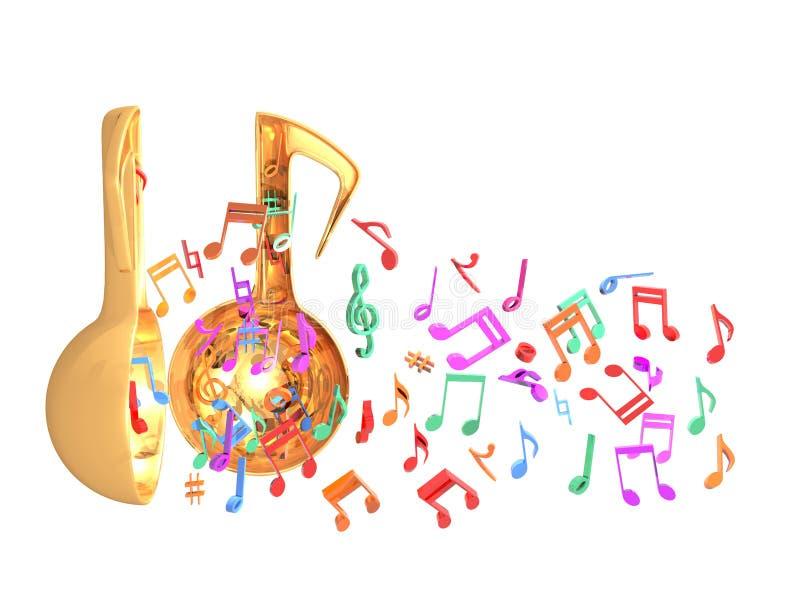 音乐门户开放主义的五颜六色的一半 向量例证