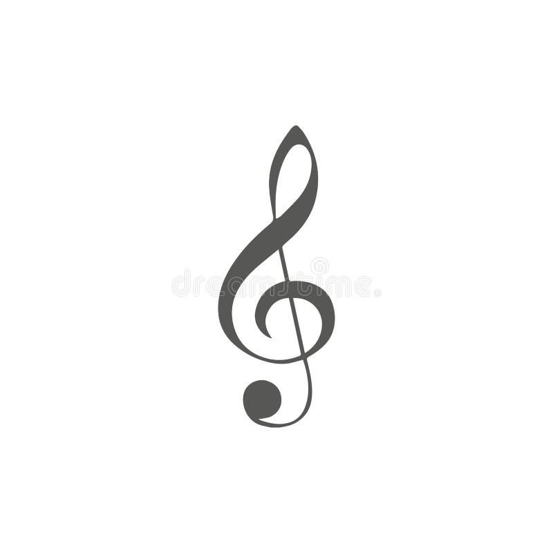 音乐题材的传染媒介简单的象 高音谱号的例证在白色背景的与迷离阴影 设计要素例证离开向量 黑色, 向量例证