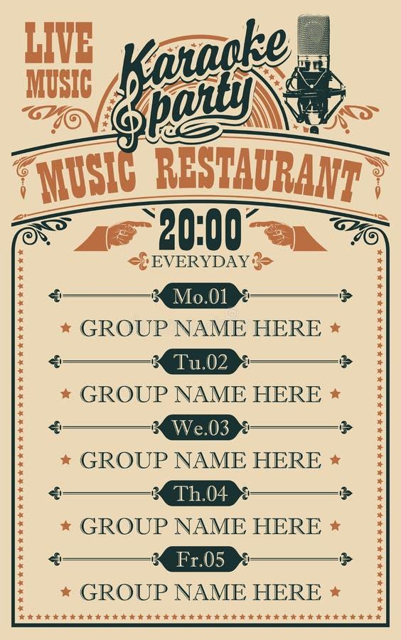 音乐餐馆的传染媒介海报有实况音乐的 库存例证