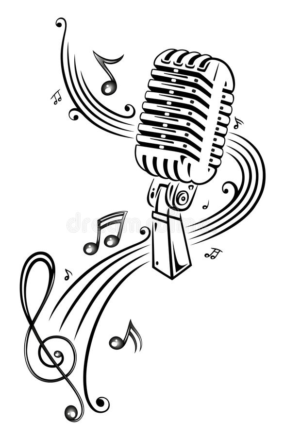 音乐,话筒 皇族释放例证