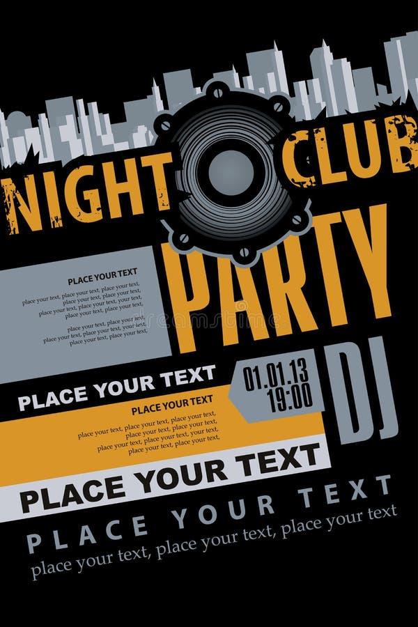 音乐DJ党的海报在夜总会 皇族释放例证