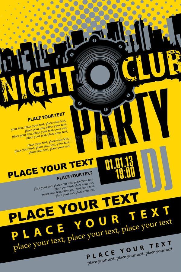 音乐DJ党的海报在夜总会 向量例证