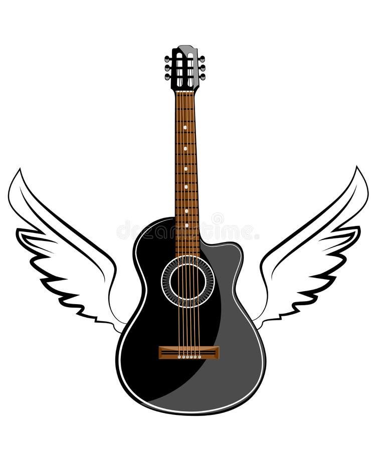 黑音响经典吉他 向量例证