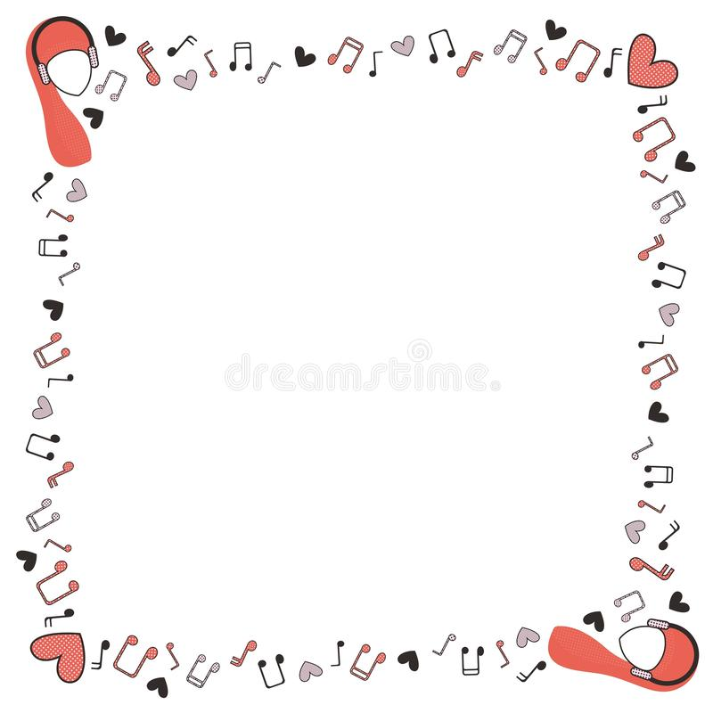 音符、心脏和妇女的头正方形五颜六色的框架在耳机在白色背景 皇族释放例证