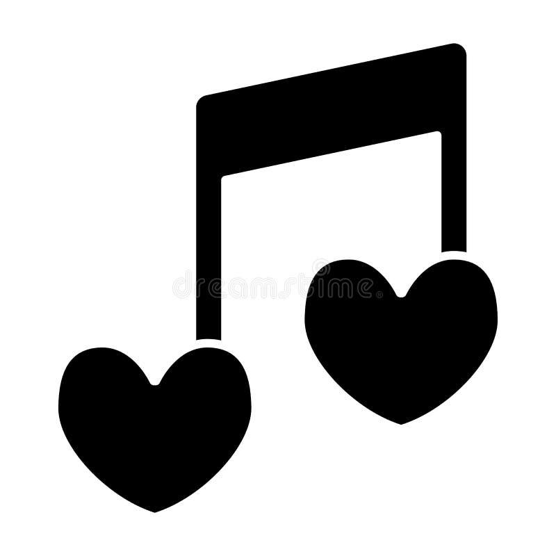 音符心形坚实象 爱情歌曲在白色隔绝的传染媒介例证 浪漫曲调纵的沟纹样式设计 向量例证