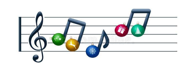 音符由圣诞节装饰品制成在这个Christas假日例证的高音谱号漂浮关于圣诞节音乐 图库摄影