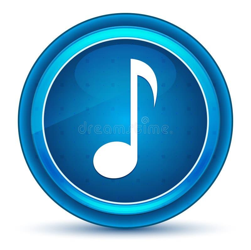 音符象眼珠蓝色圆的按钮 库存例证