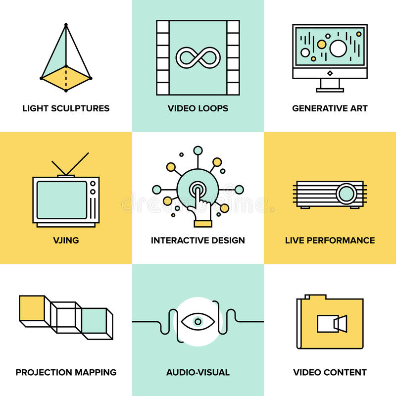 音频和视觉艺术设计平的象 库存例证