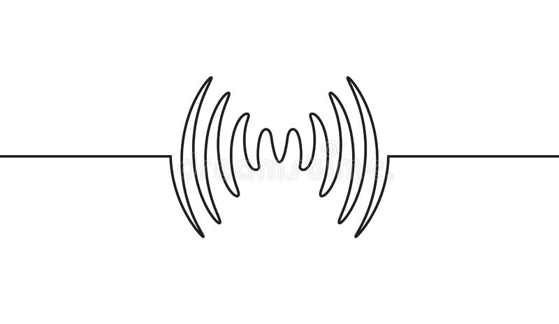 音频声波音乐信号波形 脉冲音频记录设计信号线 皇族释放例证