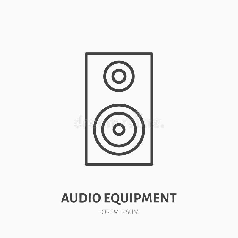 音频报告人平的线象 音乐设备标志 事件供应商店的超低音扬声器商标 向量例证