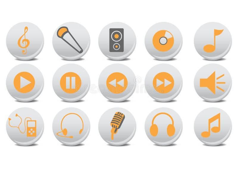音频按钮 向量例证