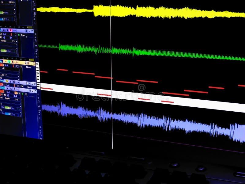 音频数字式工作区 库存照片