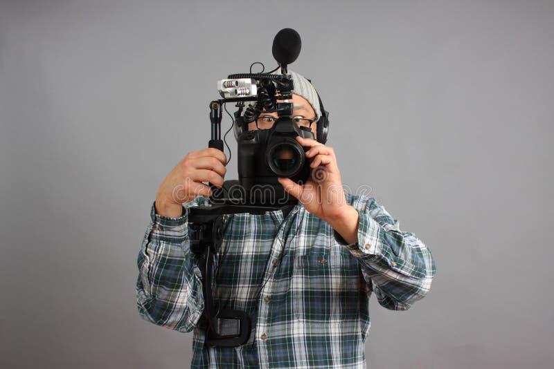 音频照相机设备hd人slr 图库摄影