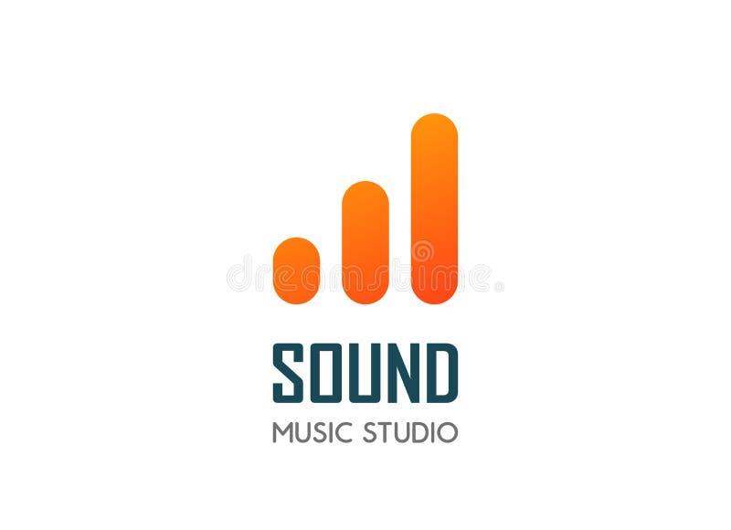 音频的传染媒介现代商标模板和音乐记录,混合演播室或收音机网站 向量例证