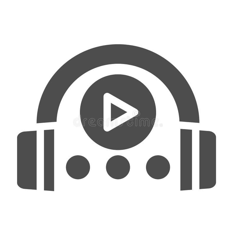 音频路线坚实象 耳机和戏剧标志在白色隔绝的传染媒介例证 音乐纵的沟纹样式设计 向量例证