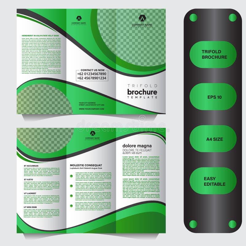6页企业三折叠小册子模板,现代和专业三折叠小册子模板,增进小册子模板 皇族释放例证