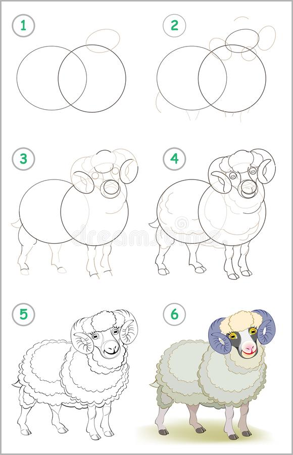 页显示如何逐步学会画一只逗人喜爱的家养的公绵羊 画和上色的开发的儿童技能 向量例证