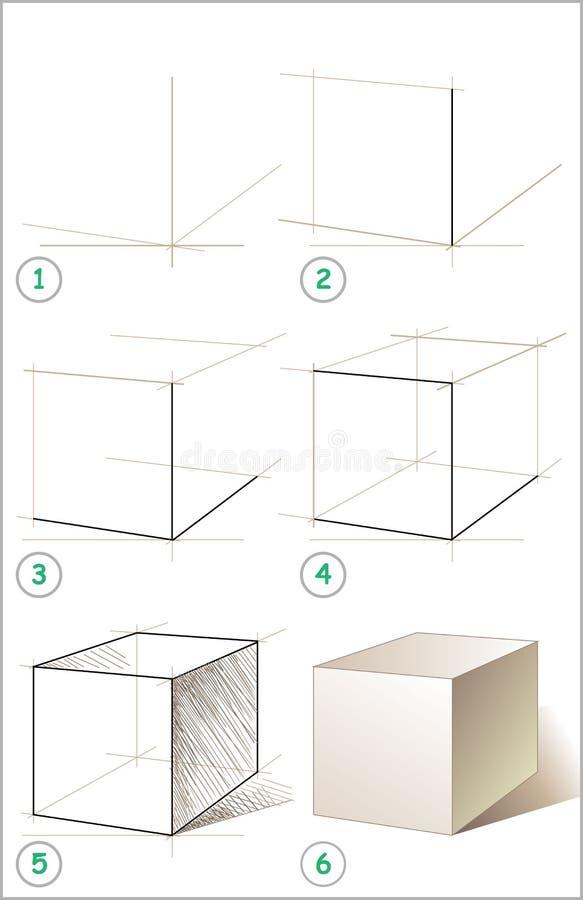 页显示如何逐步学会画立方体 皇族释放例证