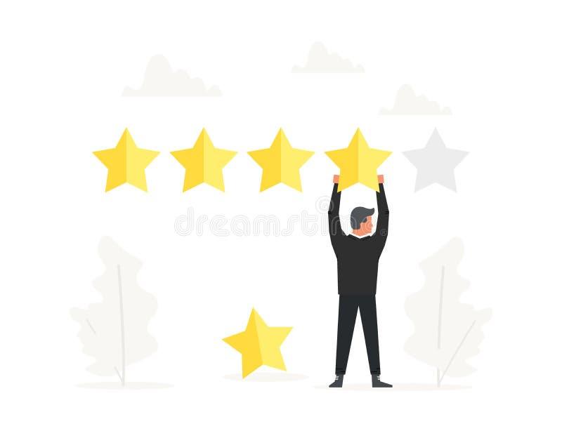 顶上商人正面回顾和举行大的星 规定值,质量工作,反馈,评估系统 例证 皇族释放例证