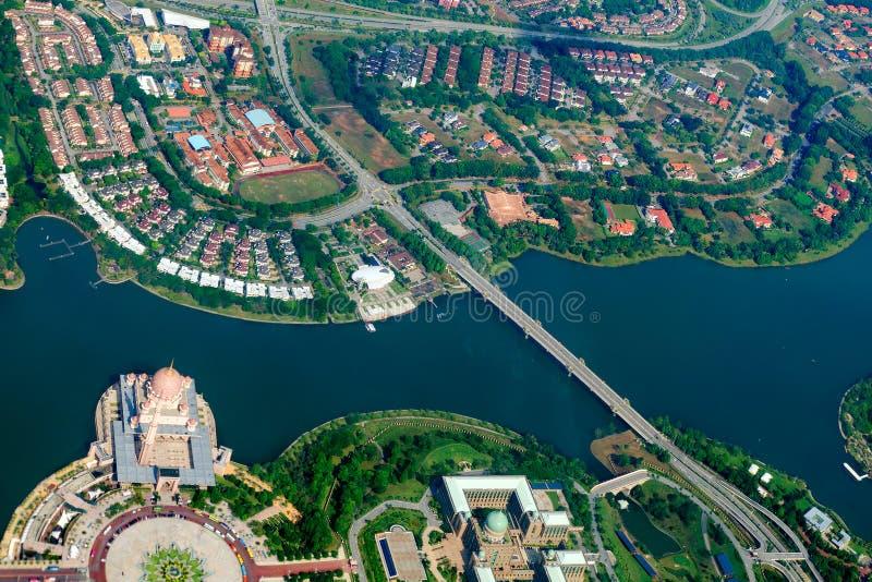 顶上的城市视图 马来西亚的空中都市风景 免版税库存照片