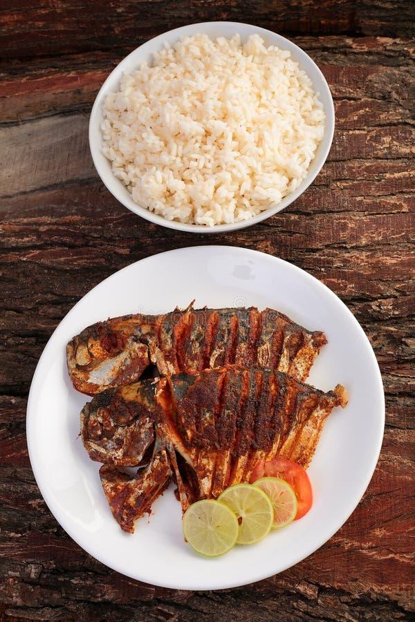 顶上的看法新鲜的海鱼油煎了用草本,并且香料服务用白米 免版税库存照片