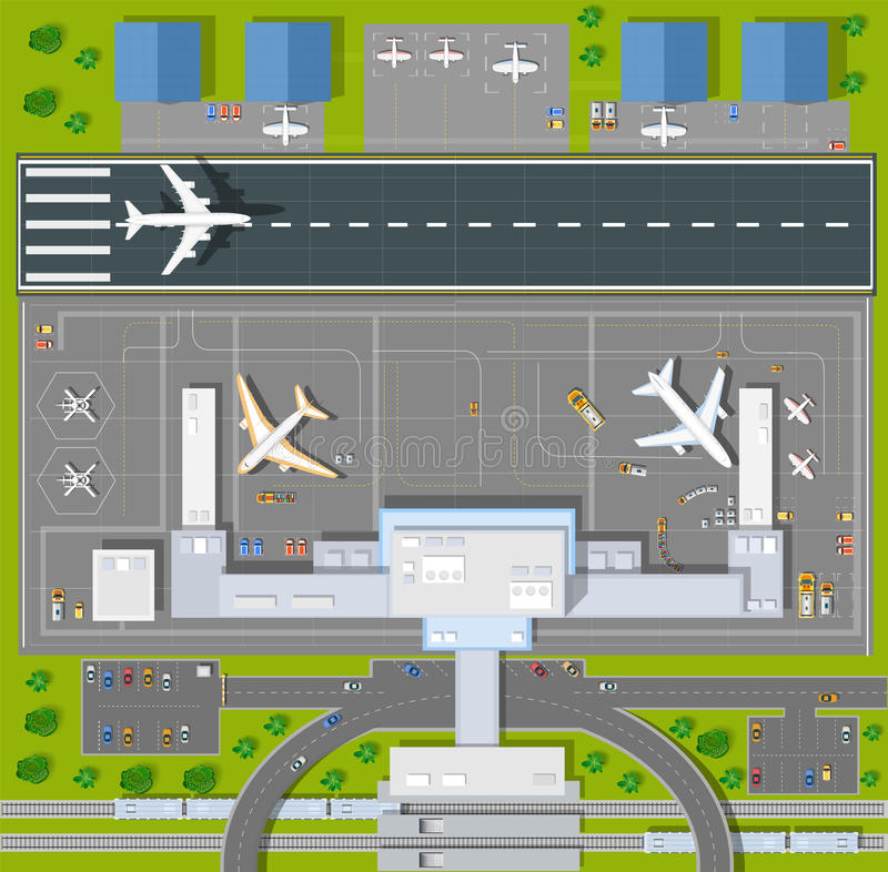 顶上的观点机场 皇族释放例证