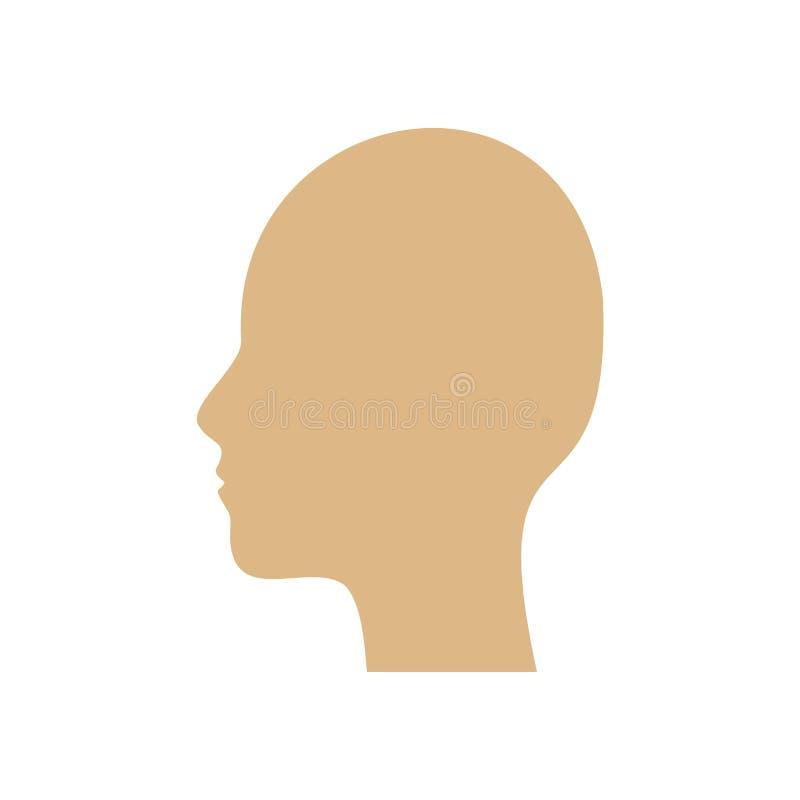 顶头侧视图传染媒介象标志动画片 字符剪影面孔人为因素象征 塑造外形用户标志 向量例证