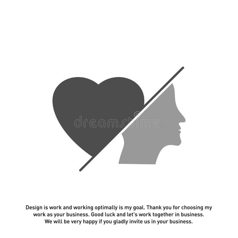 顶头爱商标传染媒介,顶头智力商标设计观念传染媒介-传染媒介 向量例证