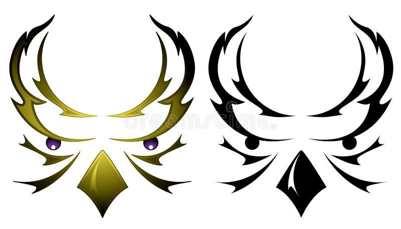 顶头猫头鹰纹身花刺 向量例证