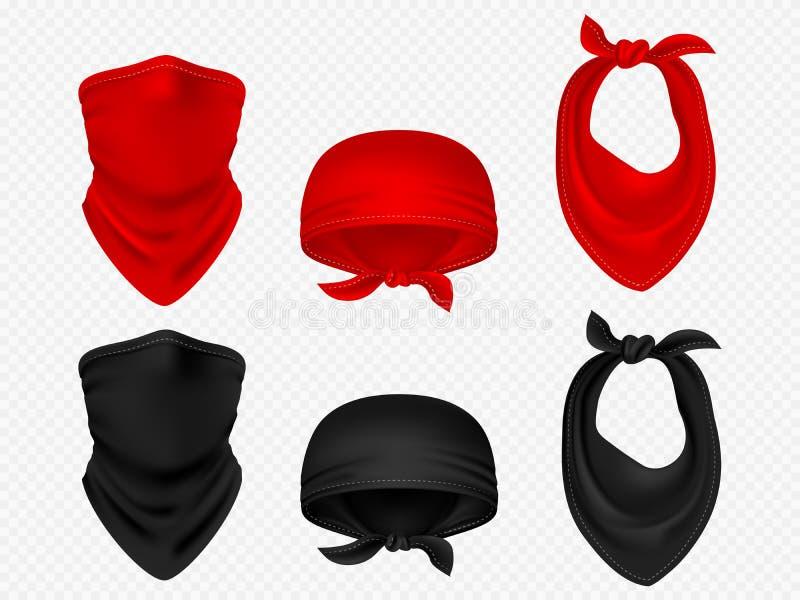 顶头班丹纳花绸、围巾和现实传染媒介集合 向量例证