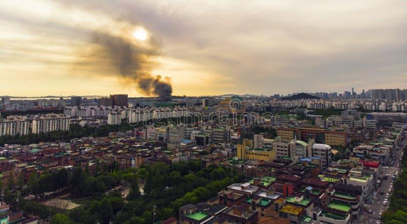 顶房顶鸟瞰图韩国 库存图片