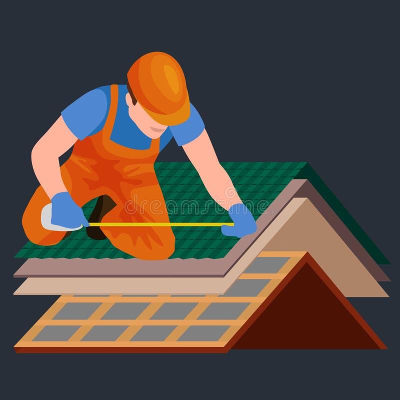 顶房顶建筑工人修理家,修造结构定象屋顶瓦片房子用辛苦设备,盖屋顶的人人与 向量例证