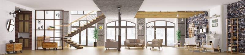 顶楼公寓内部,客厅3d翻译全景  向量例证