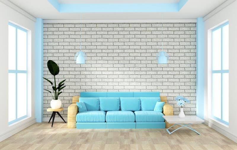 顶楼内部嘲笑与沙发和装饰和白色砖墙在木地板上 3d?? 库存例证