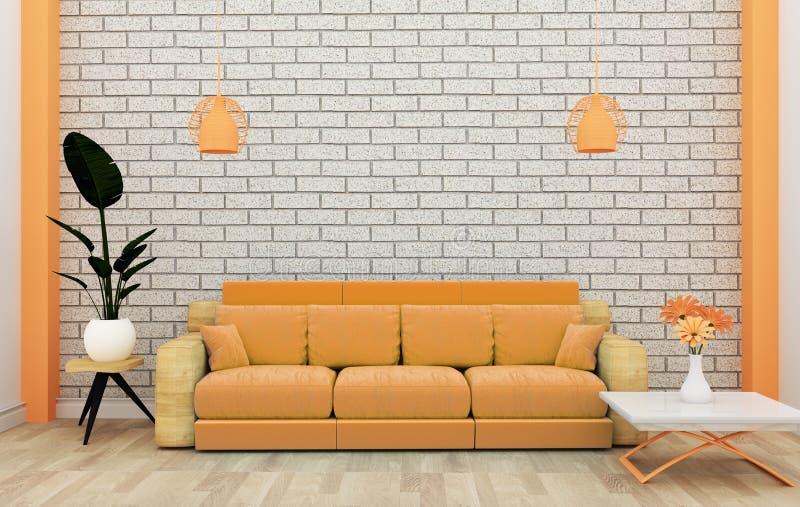 顶楼内部嘲笑与沙发和装饰和白色砖墙在木地板上 3d?? 向量例证
