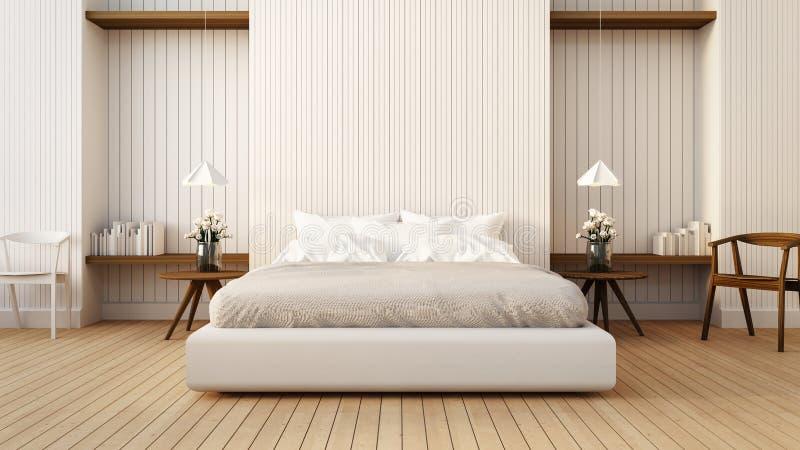 顶楼和现代卧室白色的/3D回报图象 图库摄影