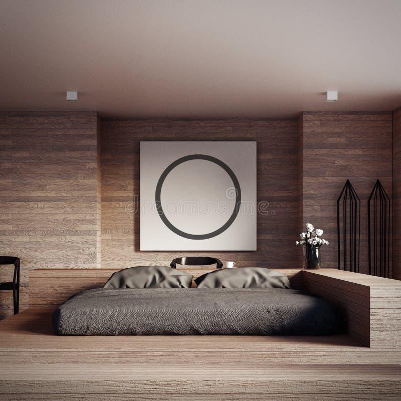 顶楼和现代卧室-嘲笑回报内部的内部3D 皇族释放例证