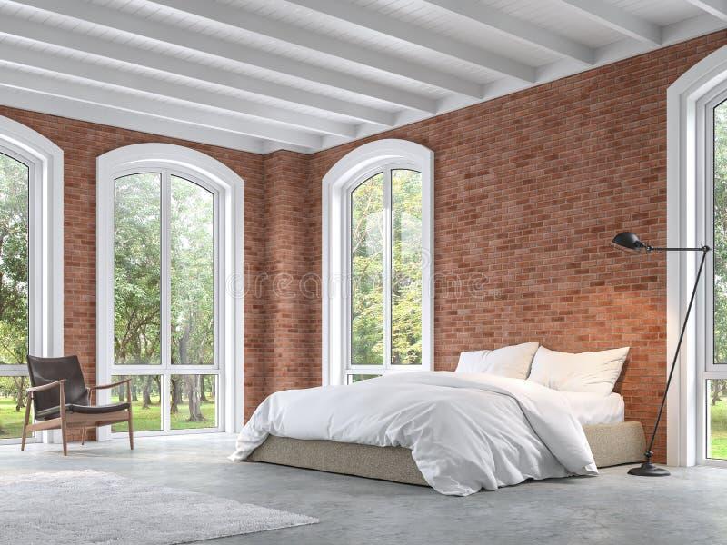 顶楼有红砖墙壁的3d样式卧室回报 皇族释放例证