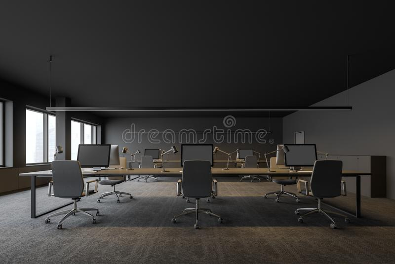 顶楼灰色露天场所办公室内部 向量例证