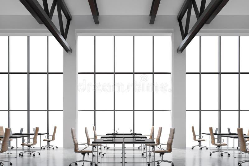 顶楼的现代明亮的干净的内部的现代工作场所称呼办公室 与拷贝空间和白色墙壁的巨大的窗口 黑de 向量例证