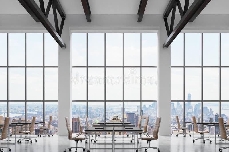 顶楼的现代明亮的干净的内部的现代工作场所称呼办公室 巨大的窗口有纽约全景 黑书桌 向量例证