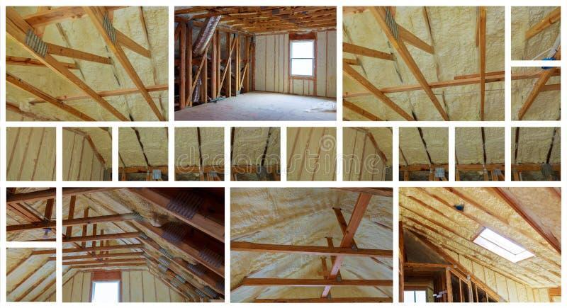 顶楼的绝缘材料有玻璃纤维冷的障碍和绝缘材料照片拼贴画的 免版税库存照片