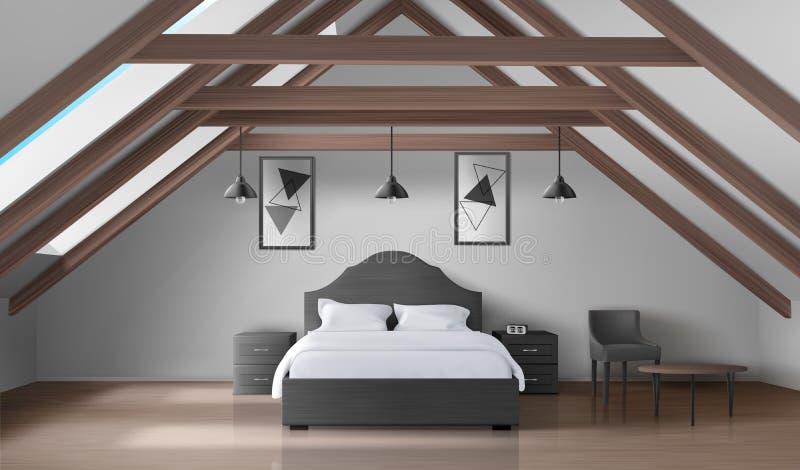 顶楼的,现代家庭有双重斜坡屋顶的房屋的内部卧室 库存例证
