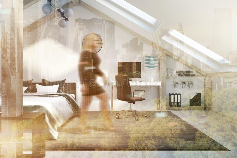 顶楼被定调子的卧室和家庭办公室内部 库存例证