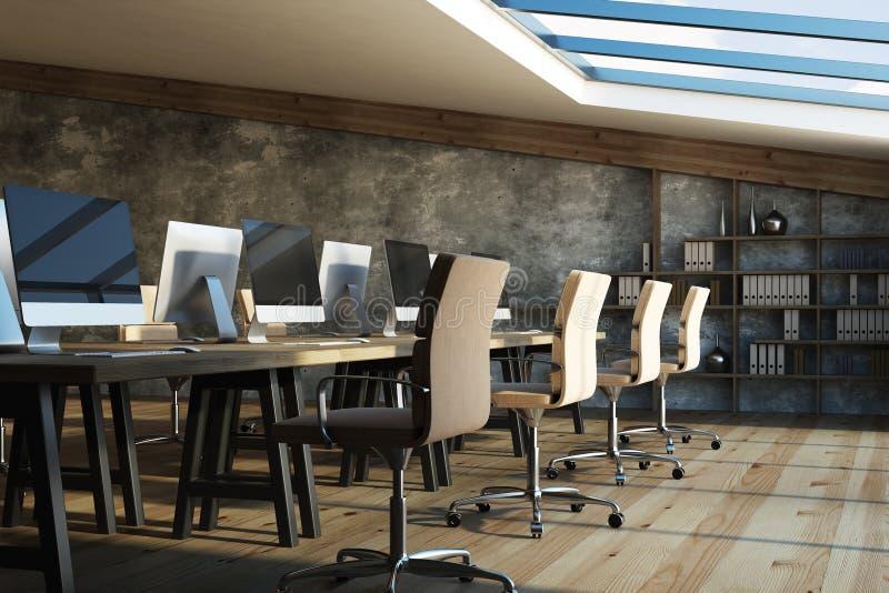 顶楼coworking的办公室内部 库存例证