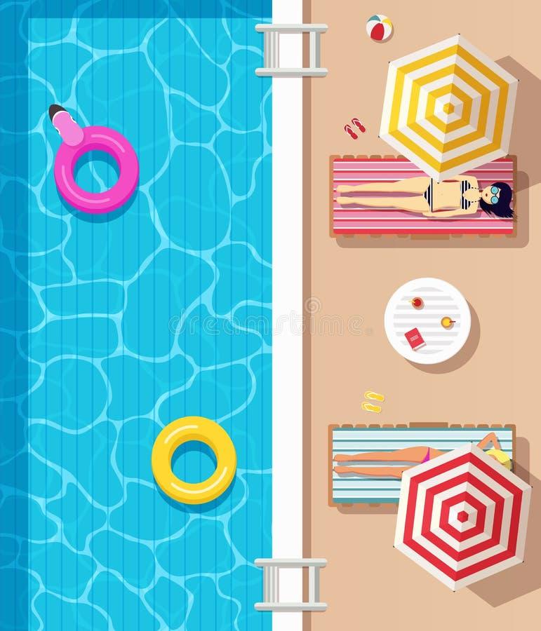 顶视图、游泳池用清楚的水,可膨胀的圈子和女孩在躺下的泳装穿戴了 向量例证