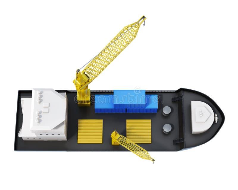 顶视图与被隔绝的起重机的货船 3d翻译 皇族释放例证