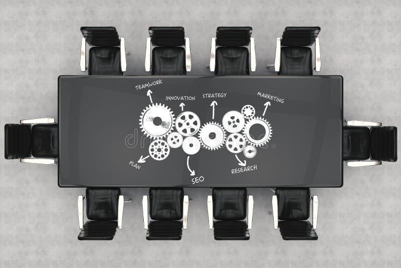 顶视图与经营计划的会议桌和办公室椅子 皇族释放例证