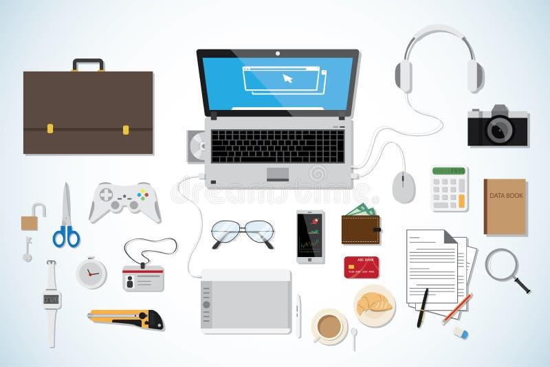 顶视图企业书桌,工作场所概念,白色收藏 皇族释放例证