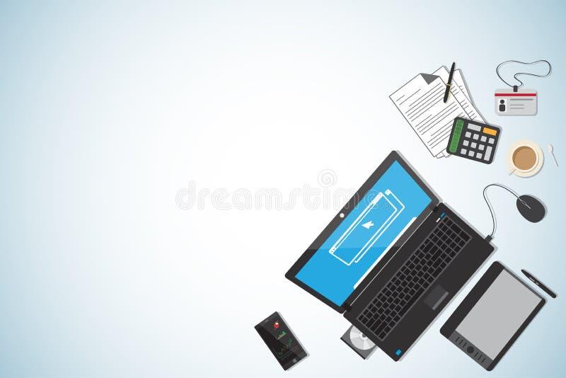 顶视图企业书桌,工作场所概念,黑收藏 库存例证